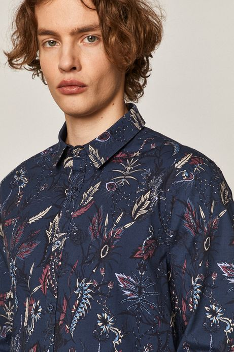 Wzorzysta koszula męska slim z bawełny organicznej zielona