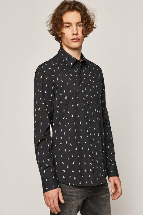 Koszula męska regular z cienkiej tkaniny granatowa