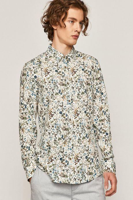 Koszula męska slim w kwiatowy wzór biała