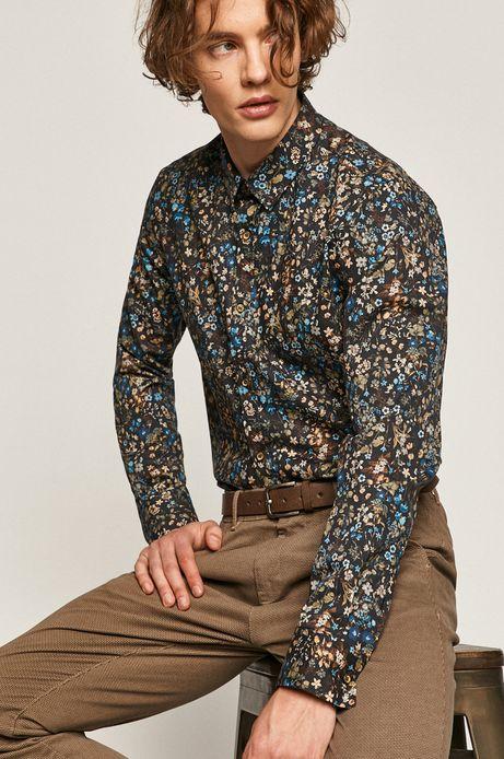 Koszula męska slim w kwiatowy wzór czarna