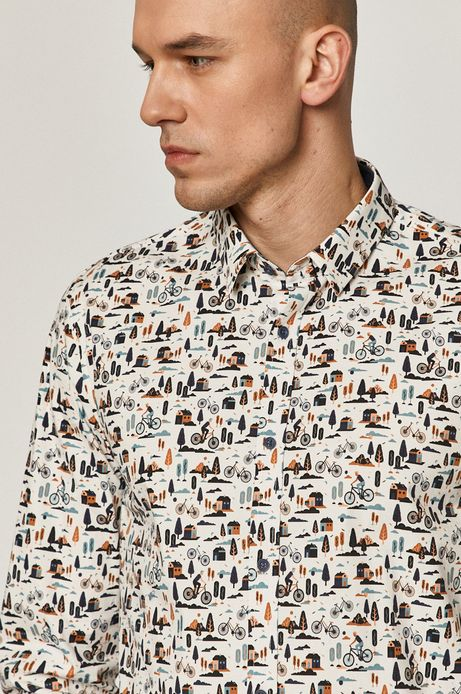 Koszula męska regular wzorzysta biała