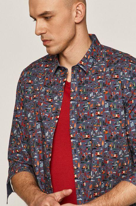 Koszula męska regular wzorzysta niebieska