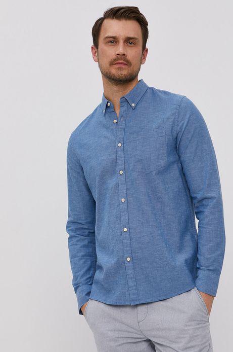 Koszula męska z lnu i bawełny organicznej niebieska
