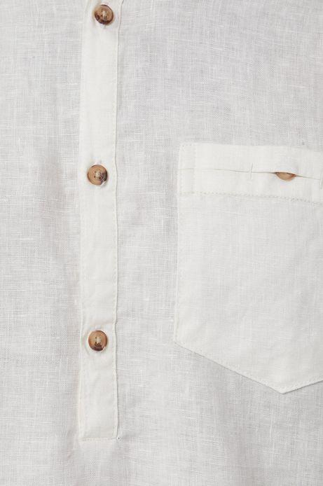 Lniana koszula męska ze stójką biała