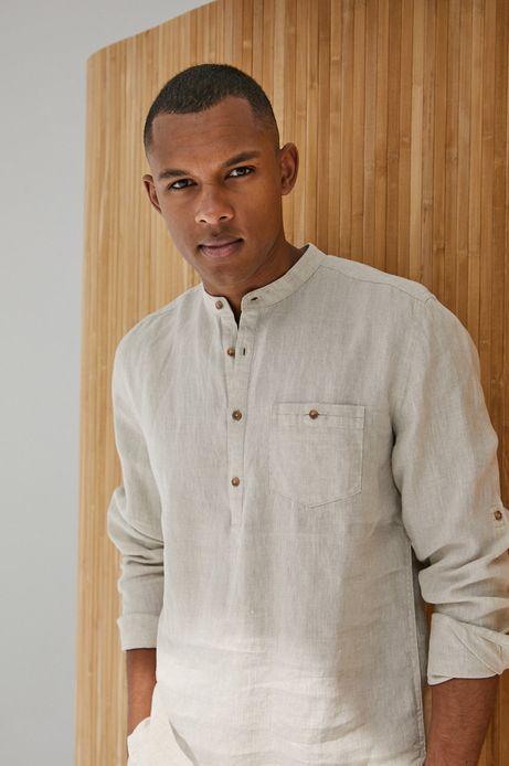 Lniana koszula męska ze stójką beżowa