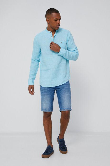 Lniana koszula męska ze stójką turkusowa