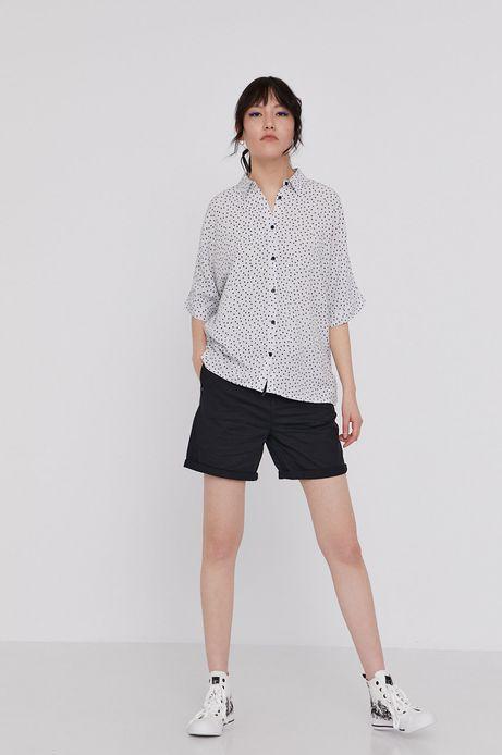 Wzorzysta koszula oversize biała