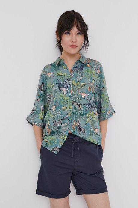 Wzorzysta koszula oversize turkusowy