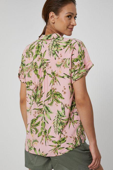 Koszula damska z wiskozy w roślinny wzór różowa