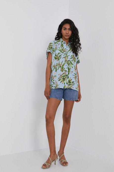 Koszula damska z wiskozy w roślinny wzór niebieska