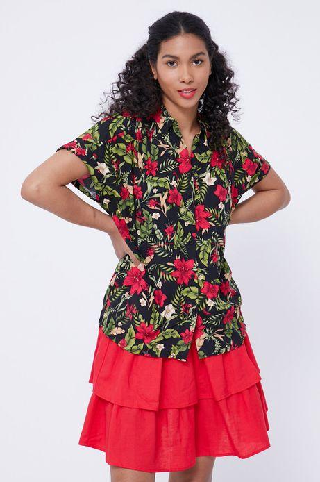 Koszula damska z wiskozy w roślinny wzór czarna