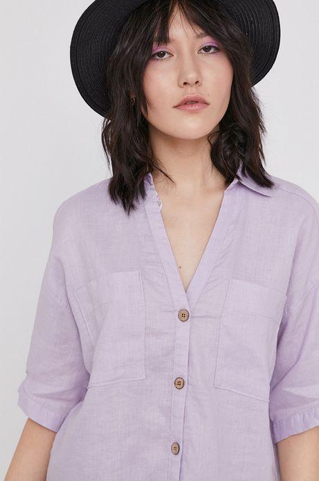 Koszula damska lniana fioletowa