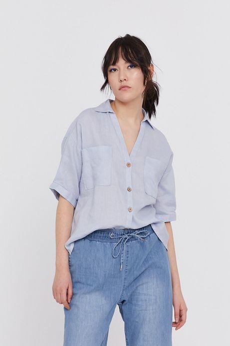 Koszula damska lniana niebieska