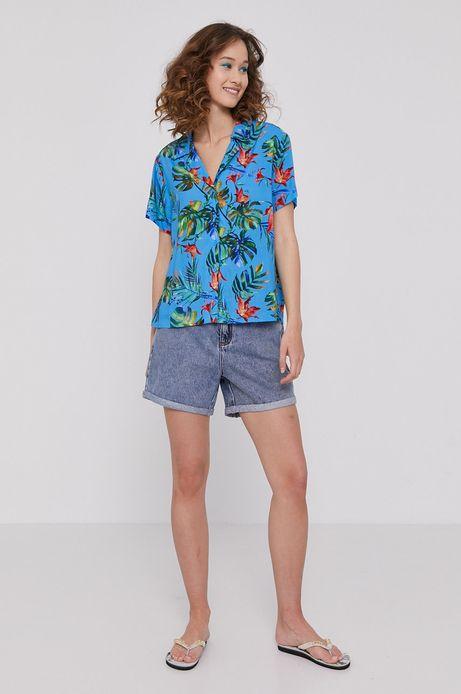 Wzorzysta koszula damska z wiskozy niebieska