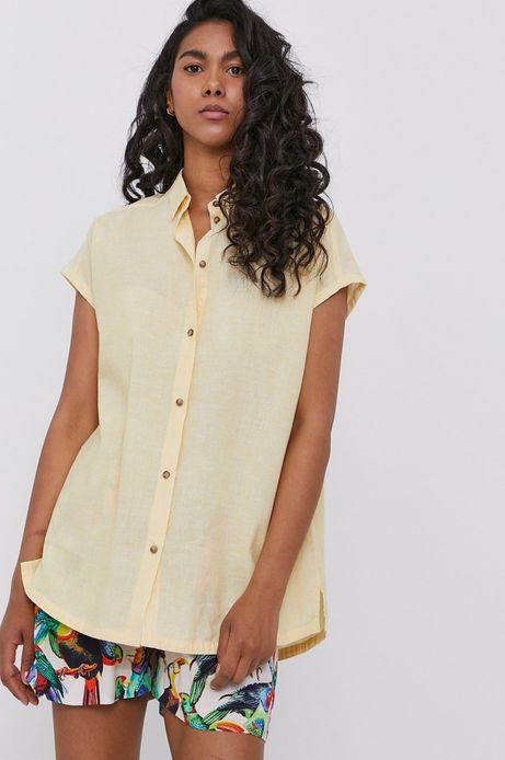 Koszula damska lniana żółta