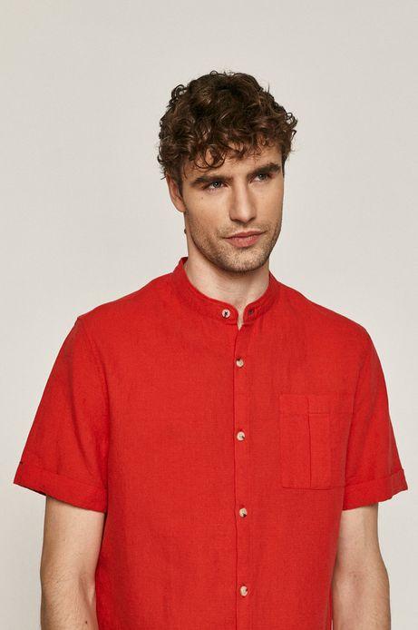 Lniana koszula męska ze stójką czerwona