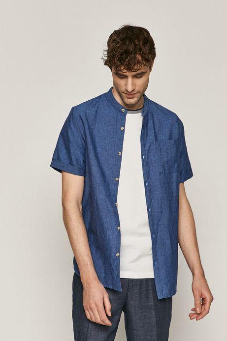 Lniana koszula męska ze stójką niebieska