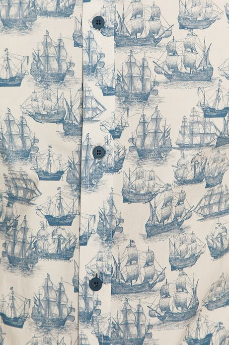 Koszula męska w statki biała