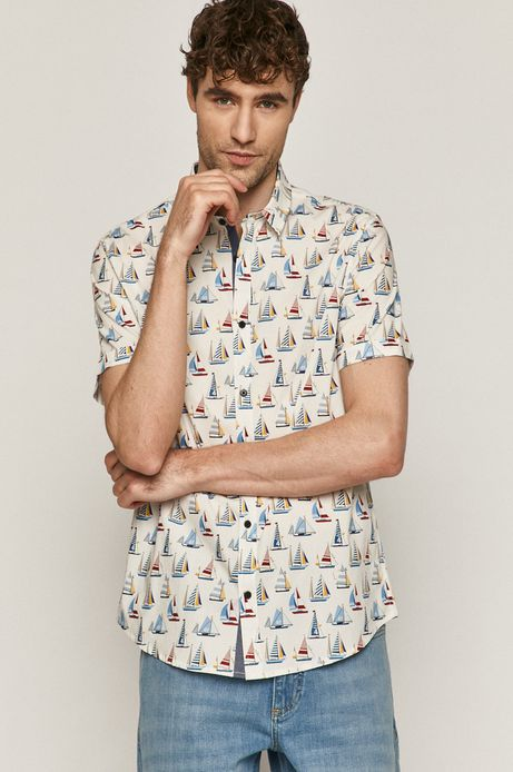 Koszula męska w żaglówki biała
