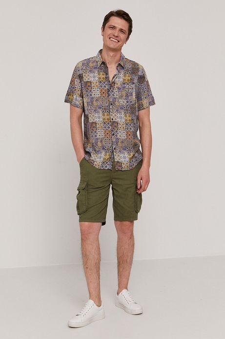 Wzorzysta koszula męska z krótkim rękawem