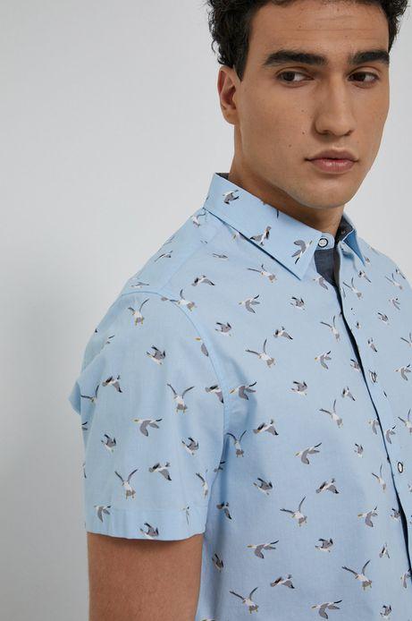 Wzorzysta koszula męska z krótkim rękawem niebieska