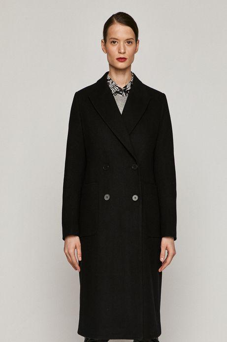 Dwurzędowy płaszcz damski z recyklingowaną wełną czarny