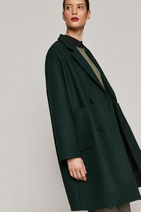 Dwurzędowy płaszcz damski z domieszką wełny zielony
