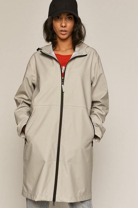 Płaszcz przeciwdeszczowy damski szary