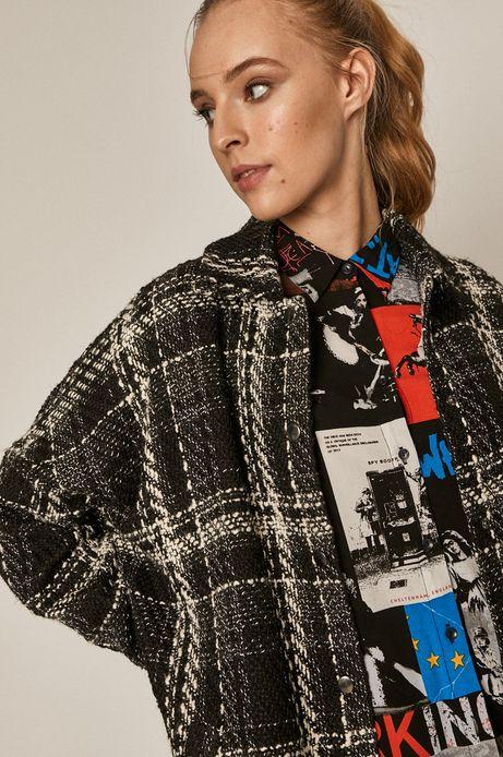 Koszulowa kurtka damska w kratę czarna