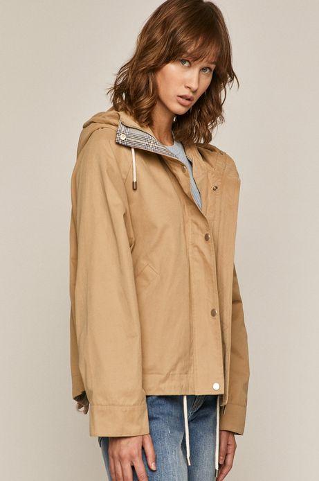 Krótka kurtka damska z kapturem beżowa