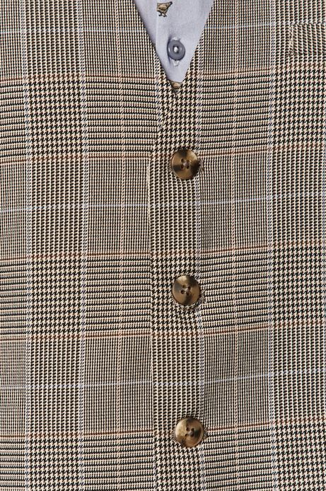 Kamizelka męska z tkaniny w kratę beżowa