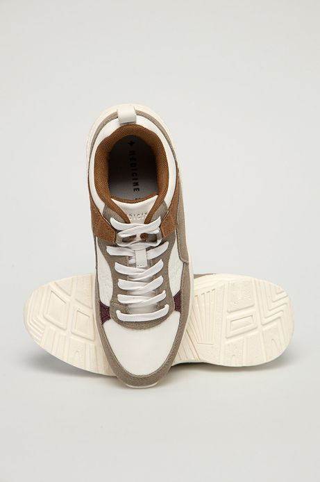 Sneakersy damskie z elementami ze skóry zamszowej beżowe
