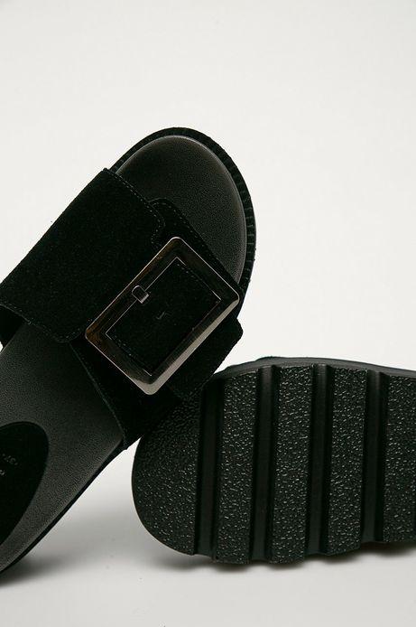 Skórzane klapki damskie czarne