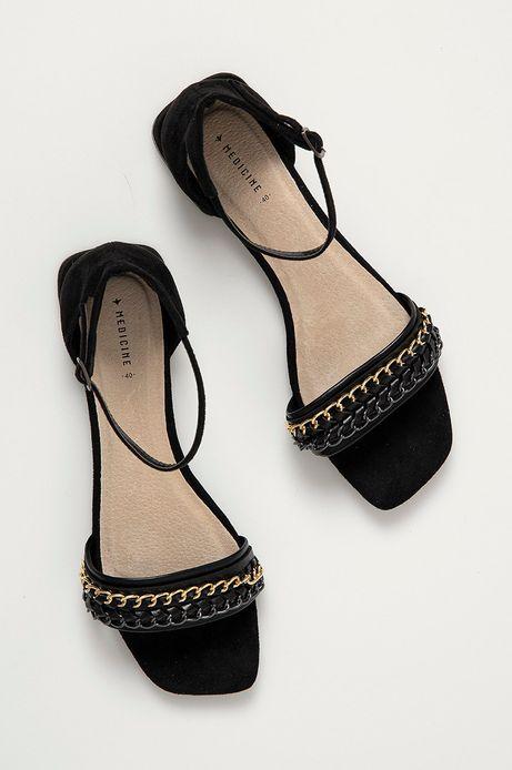 Sandały damskie z łańcuszkiem czarne