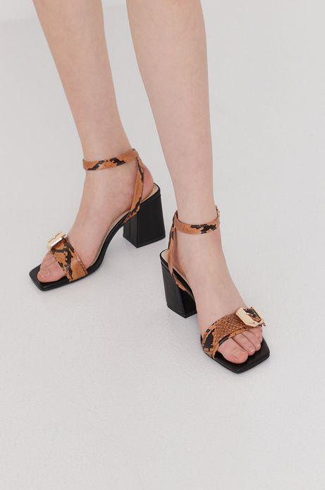Sandały damskie na obcasie brązowe