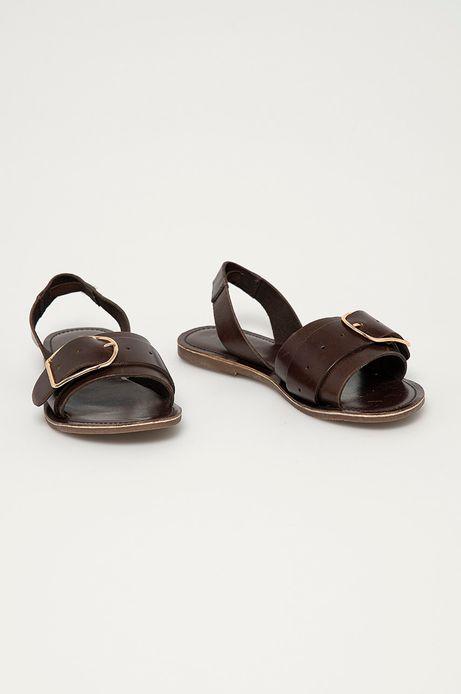Skórzane sandały damskie brązowe