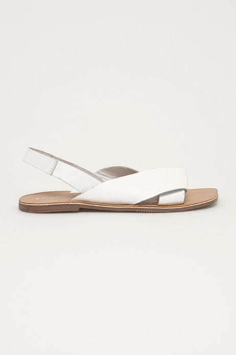 Skórzane sandały damskie białe