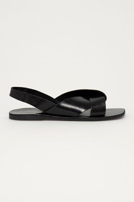 Skórzane sandały damskie czarne
