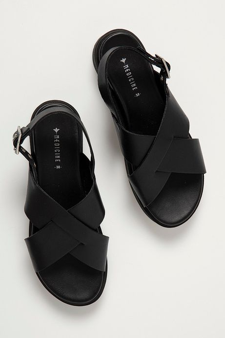 Skórzane klapki damskie na platformie czarne