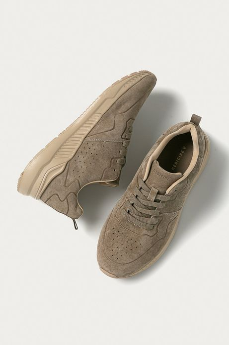 Skórzane sneakersy męskie beżowe
