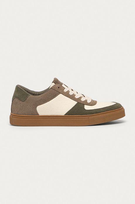 Buty męskie ze skórzanymi elementami beżowe