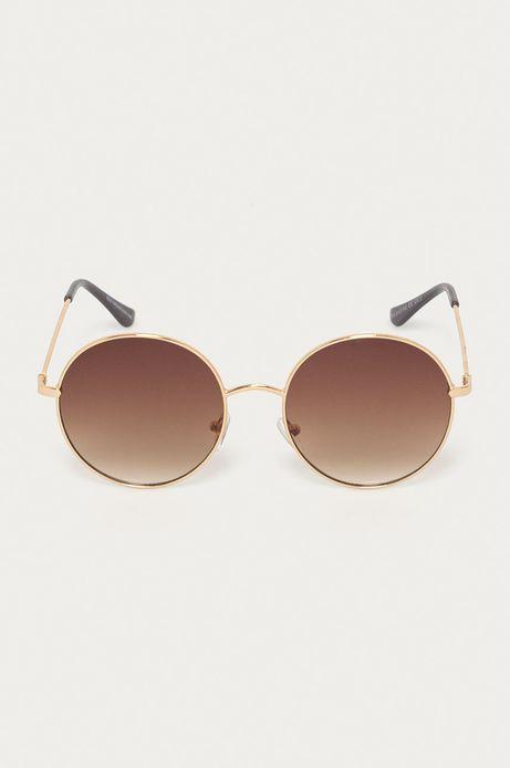Okulary przeciwsłoneczne damskie w okrągłej metalowej oprawie brązowe