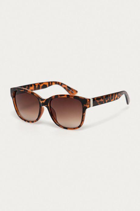 Okulary przeciwsłoneczne damskie we wzorzystej oprawie brązowe