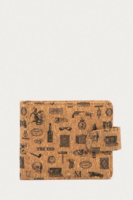 Portfel męski z korka w nadruk brązowy