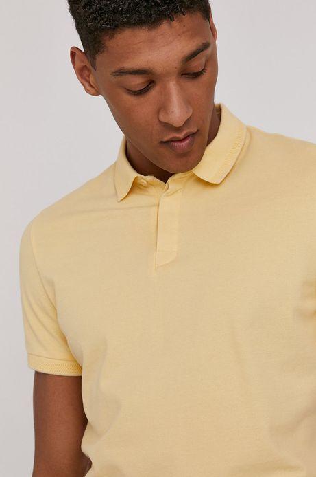 Polo męskie slim z gładkiej dzianiny żółte