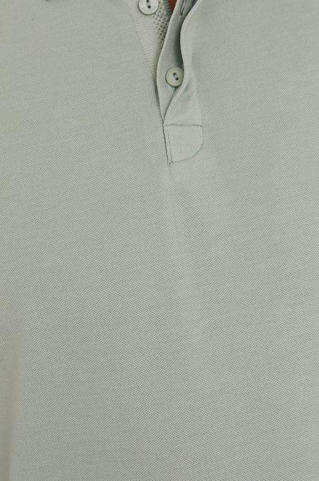 Polo męskie slim z gładkiej dzianiny zielone