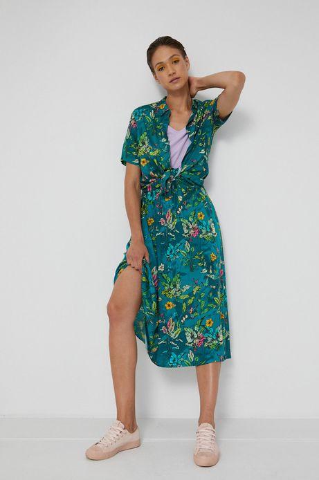 Rozkloszowana spódnica damska w kwiatowy wzór zielona