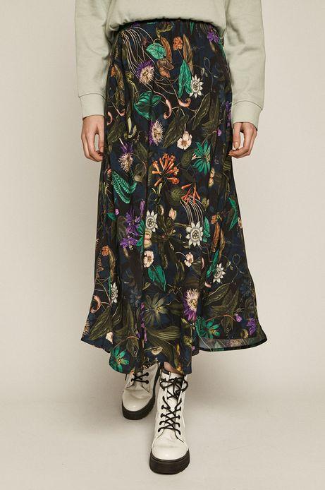 Spódnica damska w roślinny wzór czarna