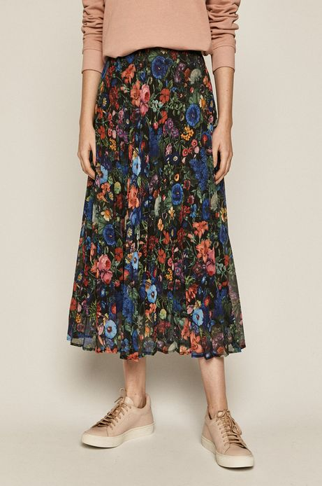 Plisowana spódnica damska  w kwiaty
