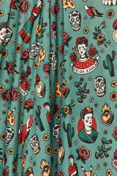 Spódnica damska Frida Kahlo turkusowa
